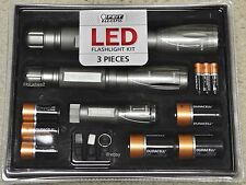 FEIT ELECTRIC LED 3 SET FLASHLIGHT KIT 1000 500 250 Lumens Slide Zoom Camping