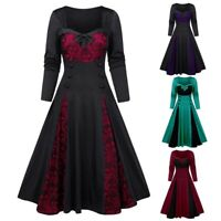 Women Ladies Vintage Ruffle Halloween Costume Gothic Party Fancy Dress Size10-18