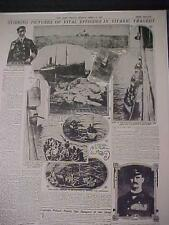 VINTAGE NEWSPAPER HEADLINE~STEAMER SUNK SHIPWRECK SINKS PICTURES TITANIC TRAGEDY