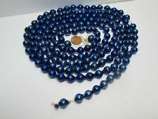 90� Antique Vintage Mercury Glass Bead Blue Garland Christmas Ornament