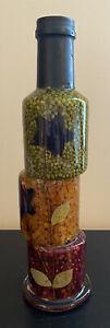 Schonfeld's Vtg Infused Vinegar Rare Star Leaf Decorative Glass Sculpted Bottle