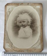 Antique Victorian Mounted Photo Vignette of a Young Blonde Haired Child