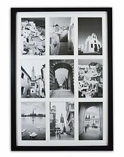 13.6x19.7 Black Wood Collage Frame with REAL GLASS and White for (9) 4x6 picture