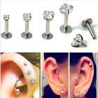 16G CZ Gem Round Tragus HA Lip Ring Ear Cartilage OU Stud Earring Body Piercing