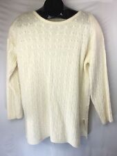 EXPRESS TRICOT LAMBSWOOL & ANGORA BLEND CABLE KNIT IVORY TUNIC SWEATER M