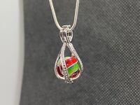 Green & Red Handmade Contemporary Borosilicate PeeWee Marble Jewelry Pendant