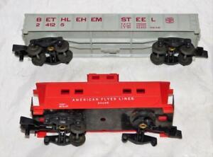 American Flyer 24125 Bethlehem Steel Gondola + 24636 caboose For Parts Only