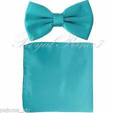 New Aqua Turquoise Blue Men's pretied Bow tie & Pocket Square Hankie set wedding