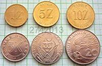 ZAIRE 1976-1988 5,10,20 MAKUTA 1,5,10 ZAIRE 6 COINS SET, UNC