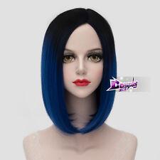 40CM Black Mixed Dark Blue Short Straight Hair Lolita BOBO Style Cosplay Wig