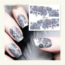 1X Sheet Flower Water Decals Nail Art Transfer Stickers Manicure Decor YZW137