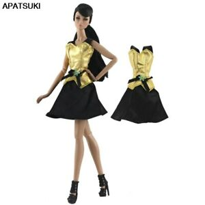 """Gold Black Fashion Short Dress For 11.5"""" 1/6 Doll Clothes Outfits Party Gown Toy"""