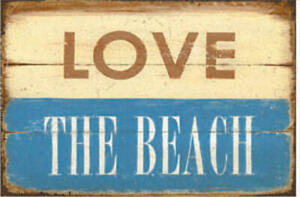 Gift Ideas>Tin Sign>Metal Signs >LOVE THE BEACH>Man Cave> Bar>Shed>Collectibles