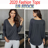 Women V-Neck Wrap Front Irregular Twist Hem Blouses 3/4 Sleeve Solid Casual Tops