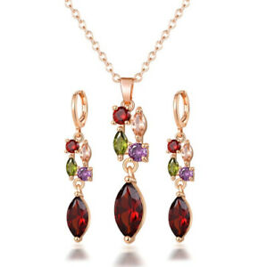 Jewelry Sets Drop Amethyst Garnet Natural Peridot Rose Gold Necklaces Earrings