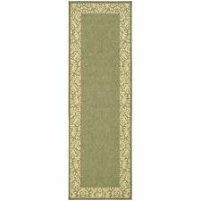 Olive Green Floral Indoor/Outdoor Rug 2' 3 x 10' Runner