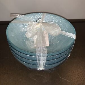 AKCAM TURKISH GLASS BLUE GLITTERY CEREAL BOWLS Set Of 4 Rare