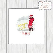Funny Christmas Card Santa Peeing In Snow Xmas Amusing Office Humour Adult Rude