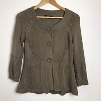 M&S Size 12 Mocha Brown Large Button Peplum Bottom Cardigan
