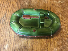 Green Ceramic Raft Soap Dish Or Ash Tray 7x4