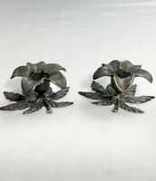 Pair Solid Antiqued Brass Italian Candle Holders Floral Home Decor Italy Rome #2