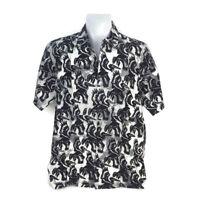 Rum Reggae Men Aloha Hawaiian Shirt Pelican Do It Gray Black Short Sleeve Size M