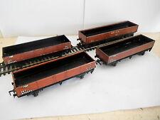 3 HORNBY DUBLO 3 RAIL TIN PLATE LWB OPEN WAGONS 20T TUBE + 50 TON flettons brick