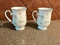 Sheffield Fine China Japan Rambling Rose Footed Mugs Silver Trim - Set of 2