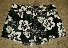 WOMENS Sz 17 Black Grey & White Floral Mini Surf / Board Shorts LOVELY! HIBISCUS