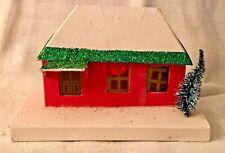 Antique Vintage Putz Pink Green House Cardboard Frosted Christmas Village Japan
