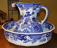 Large Antique Blue Turner Willow Pitcher & Wash Bowl Set Mason's Ironstone