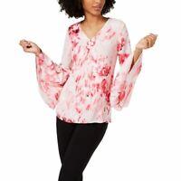 ALFANI NEW Women's Printed V-neck Tiered Bell Sleeve Blouse Shirt Top 4 TEDO