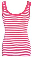 Soulcal Women's Top Pink White Size 8 100% Cotton Striped Sleeveless VGC
