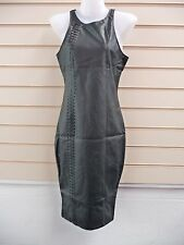 DRESS BLACK SIZE 8 JERSEY/ PU  LACE UP DETAIL BODYCON PARTY BNWT
