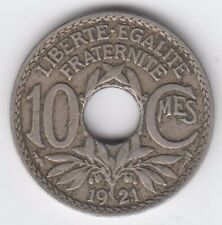 1921 France 10 Centimes Coin