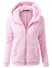 UK Women Winter Fluffy Fleece Jacket Coat Cardigans Hoodie Zip UP Pocket Jumper