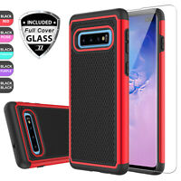 For Samsung Galaxy S10 Plus/S10 Hard Case Cover + Full Coverage Screen Protector