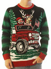 Ugly Christmas Sweater Mens How We Roll Reindeer Off-Road Light Up Sweater