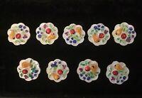 Vtg Fruit Plate BUTTONS Realistic  Rare Sets (10) nine heavy painted  plastic