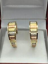 14k Tri-color Gold Hoop Earring