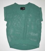 Hurley Womens Loose Knit V Neck Short Cap Sleeve Sweater Top Small