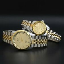 Most Popular Waterproof Mens & Womens Yellow Gold Crystal Quartz Wrist Watches