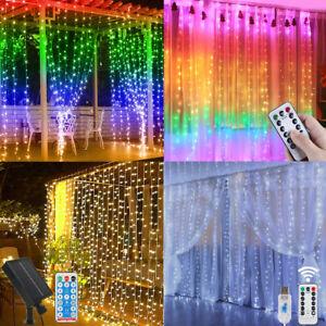 300 LED Outdoor Curtain Fairy String Lights Garden Gazebo Party Window Light UK