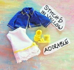 Kelly Small Doll Clothes *Kelly Fashion White cotton Dress, Blue Jacket & Shoes*