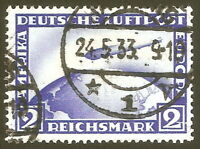 DR Nazi 3rd Reich Rare WW2 Stamp 1928 Air Mail Graf Zeppelin L.Z.127 over World
