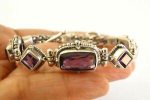 Purple Amethyst Ornate Balinese 925 Sterling Silver Toggle Bracelet