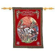 "NEW DISNEY Mickey & Minnie Wall CHRISTMAS LINED Tapestry 29"" Rod/ Bracket 26x34"