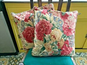 Vintage Jonelle Cushions & Covers Red Pink Yellow Green Floral Pattern 16x16 in