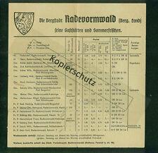 Faltblatt Bergstadt Radevormwald Gaststätten Sommerfrischen  Zimmer Preise 1935