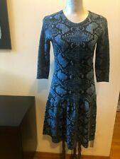 NEW BURBERRY MERINO WOOL BLUE SNAKE SKIN PRINT  DRESS SIZE S